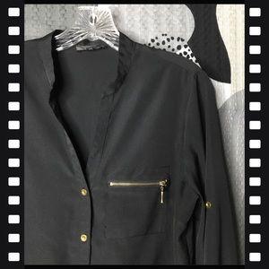 SPENSE • Black and Gold V-Neck Button Down Shirt